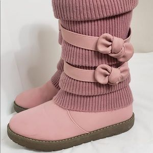 Baby Mauve Pink Tall Sock Fur & Bow Winter Boots